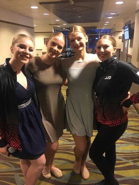 "Senior Dancers (from left) Briar Summers, Kaitlyn Wright, Sadie Hamilton, and Alexus Banks. Briar received first overall and ""Broadway Baby"" defining moment for her song and dance solo ""Show Off"". Kaitlyn received an impressive second place out of six dancers in a tough category for jazz solo ""Le Jazz Hot"". Sadie Hamilton received second overall for Ballet solo ""Sugar Plum Fairy"". Alexus and Briar received third overall for their Jazz duet ""Another One Bites the Dust"" (supplied)"