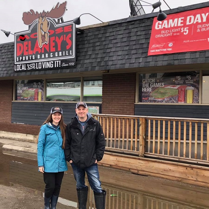 Dezarae Aldridge-Earl (left) was grateful that Dan Barkwell from Moose Delaney's helped keep an eye on her business during the flood this spring (Dental Hygiene with Dezarae / Facebook)