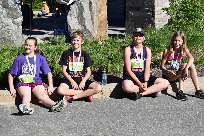 Cottagers (from left) Lacey Potter, 11, Andrew Judson, 11, Alex Potter, 13, and Sara Judson 13 had such a great time in the kids' fun run that next year they are going to attempt the 5k