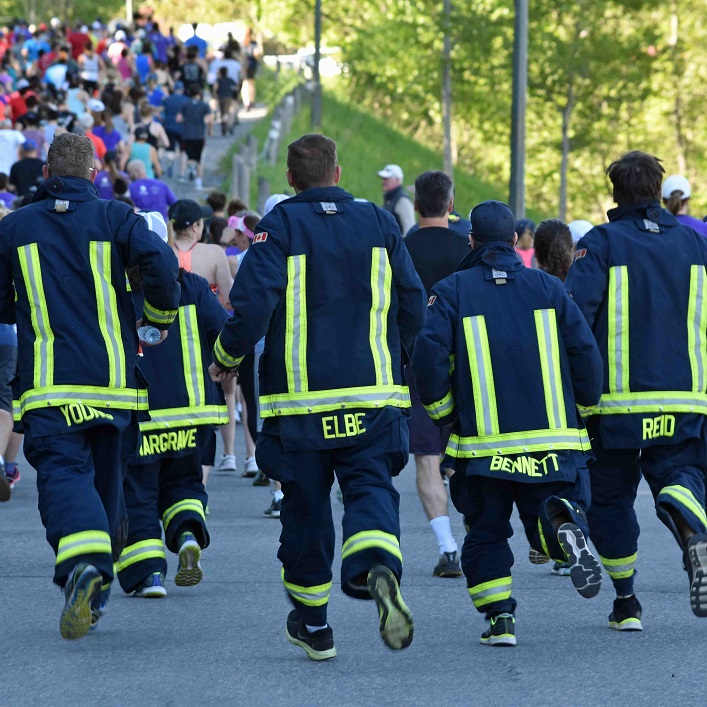 The firefighters were back, running in full gear