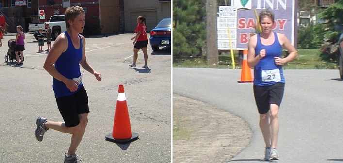 Cheryl Durand during and at the finish of the BOTR half marathon in 2012 (Photos: Patricia Durand-Bosworth)