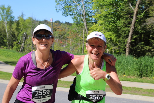 Annie Cotnoir (left) and Rose Evans placed third and second (but really tied) in their age category in the half marathon (21.09 km). (Photo: Liz Rice)