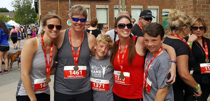 (From left) Patricia Durand-Bosworth, Cheryl Durand, Jayden Brake, Carrie Durand and Ben Brake at Band on the Run 2018 (Photo: Chris Bosworth)