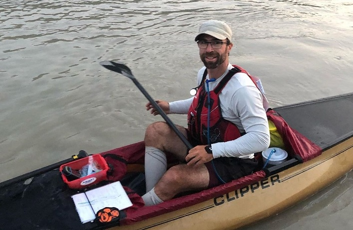 Chris Near finishes the Yukon River Quest in Dawson City, 52 hours and 36 minutes after he began (Rebecca Francis)