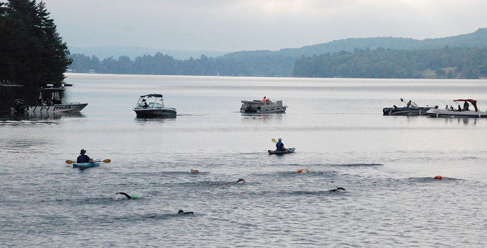 A variety of support boats kept an eye on the athletes, too