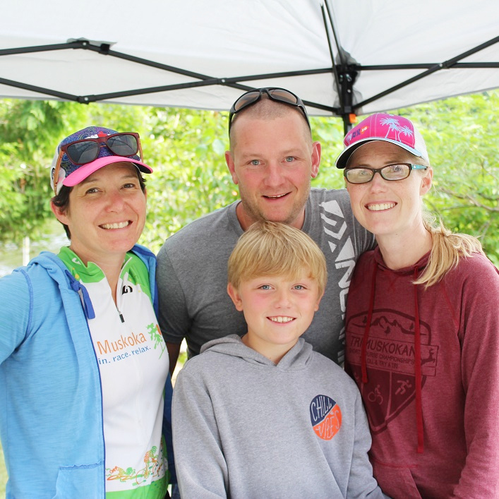 Volunteers (clockwise from left) Deb Harrold, and Matthew, Lindsay and Ty Bishop