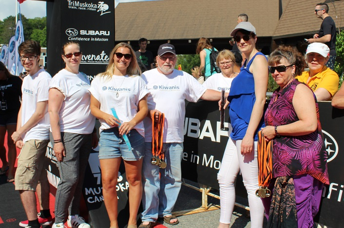 Volunteers from the Kiwanis Club of Huntsville Muskoka and the community greeted finishers at the end of the fun run (from left) Logan McFall, Tracy McFall, Halley Clover, Rick Brooks, Susan Brooks, Brittany Robbins, Janice Larade and Heather Wyatt