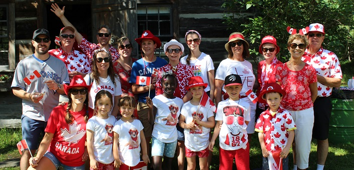 This crew came dressed in their Canada Day finest