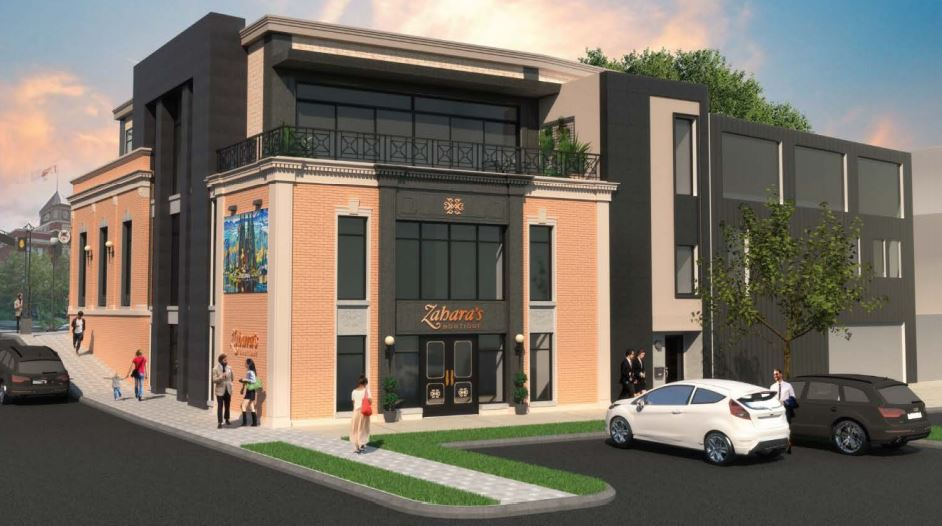 Rendering of the back of the proposed redevelopment of the former TD building, which will serve as the entrance for Zahara's Boutique