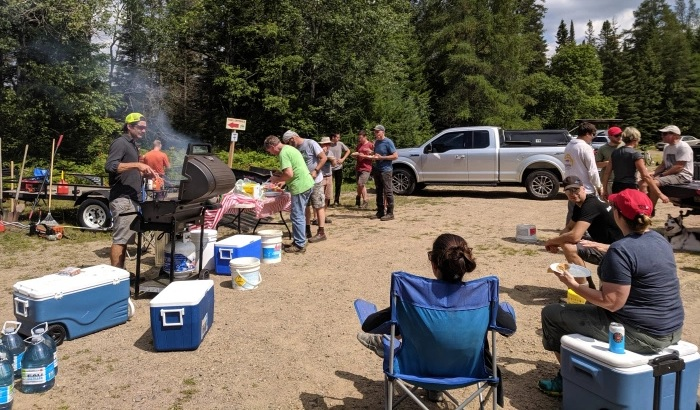 Volunteers enjoyed a barbecue and camaraderie following the build day (Photo courtesy of the HMBA)