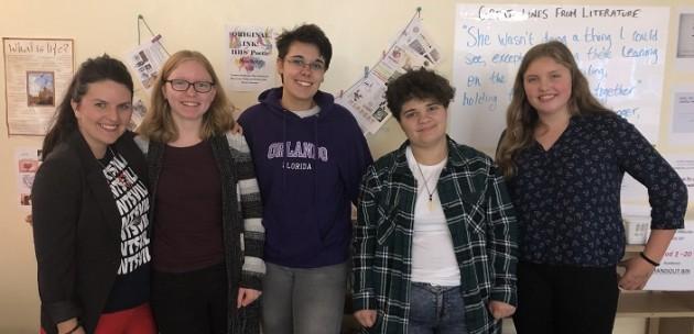 Members of the HHS Original Ink poetry club (from left) teacher Mandi MacIntosh, Annika Martin, Gabby White, Devan Ferrier and Katie Fleming