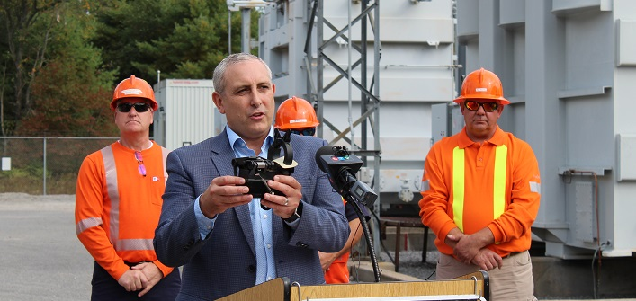 Jason Fitzsimmons, Hydro One, describes one of the fault indicators that will make it easier for crews to find the location of outages
