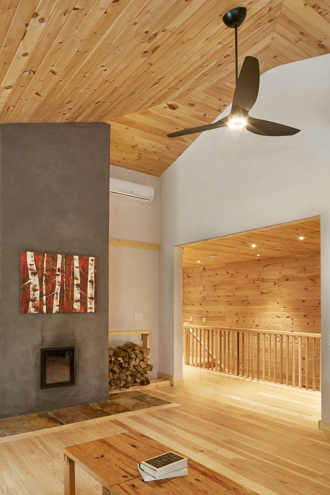 The interior of this environmentally friendly Baysville home owned by Rick Zytaruk and Susan McGrath is cozy and modern (supplied)
