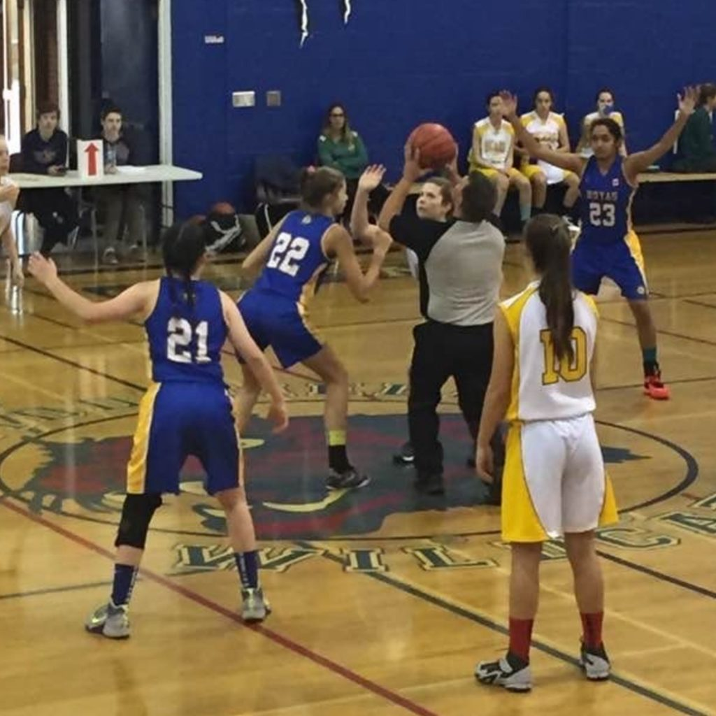 Emma McAlpine #22, at centre for the tip off during a Hoyas game (supplied)