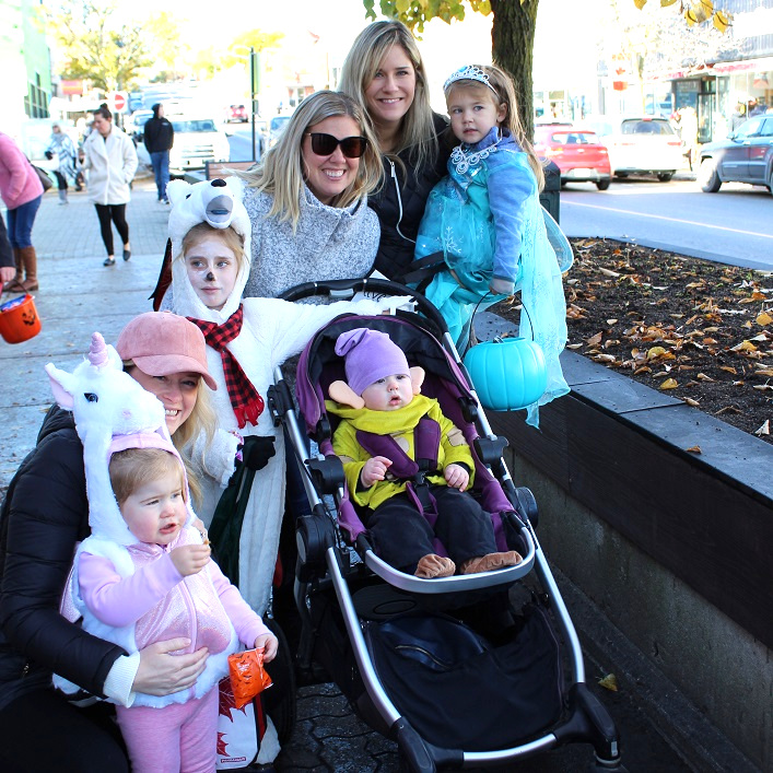 (From left) Paige and Jessica Brown, Emerson and Anderson (in stroller) Wadel, Victoria Darling-Wadel, Aimee Bulloch-Moore and Waverly Moore