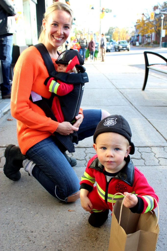 Carly Gledhill brought five-alarm cuteness to the Tiny Tots Parade with Noah and Peter