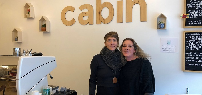 Anna Smith (right), owner of Cabin Organic Café, with Keri-Lyn Freebird (Sydney Allen)