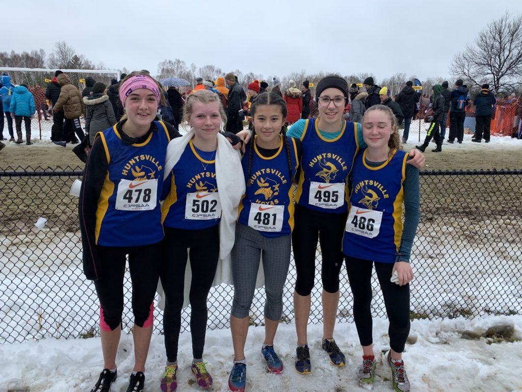 HHS junior girls cross-country team at OFSAA 2019 (from left) Emily Angell, Laura Yungblut, Ava Bijl, Chloe Punkari, and Grace Gaughan (supplied)