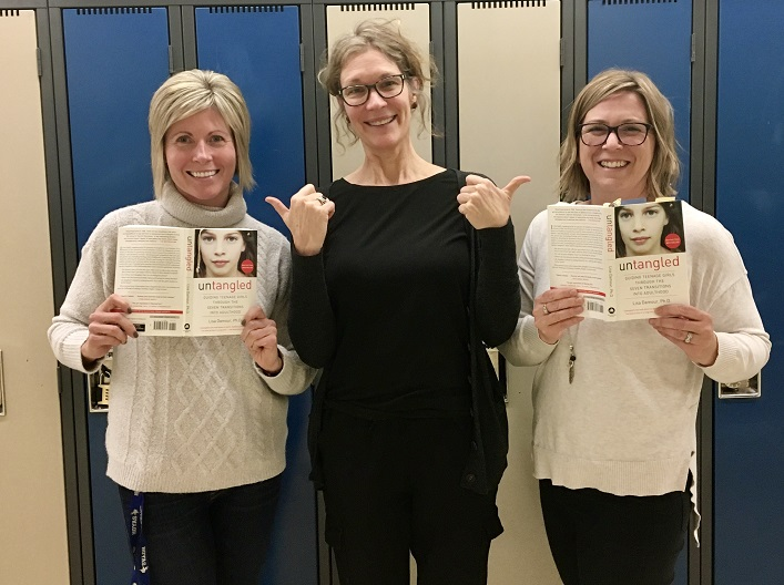 HHS parent book study group organizers (from left) Vanessa Taylor, Jen Rosewarne and Jen Nicholson (Sydney Allen)
