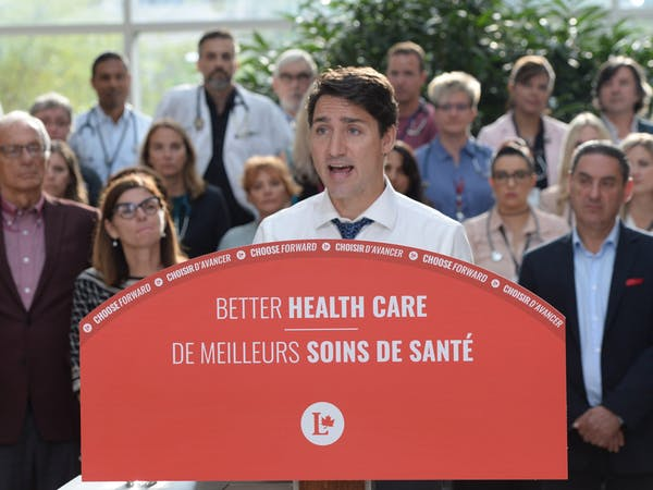 Justin Trudeau makes a health-care policy announcement in Hamilton, Ont., in September 2019 (THE CANADIAN PRESS Ryan Remiorz)