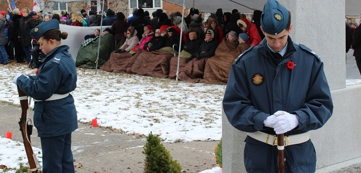 Cadets from the 844 Norseman Royal Canadian Air Cadets stand vigil at Huntsville's cenotaph as veterans await the start of the annual Remembrance Day service (Dawn Huddlestone)