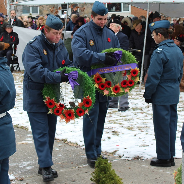 Several dozen wreaths were laid at the base of the cenotaph (Dawn Huddlestone)