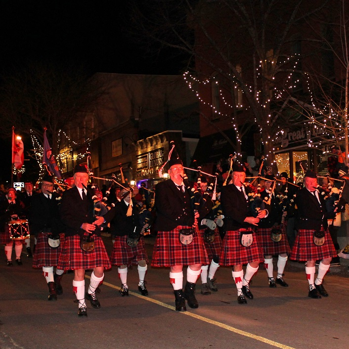 Cameron of Lochiel Pipes and Drums added festive sound to Main Street