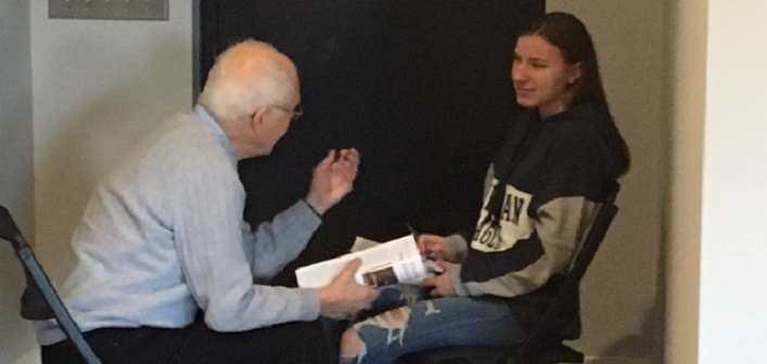 John McTavish shares his story with HHS student Helaina Boothby (Jennifer Rosewarne)