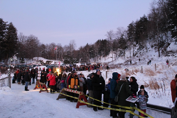 A Portage Flyer Christmas is a popular event. A line snakes part way up Forbes Hill Drive before the event has officially begun.