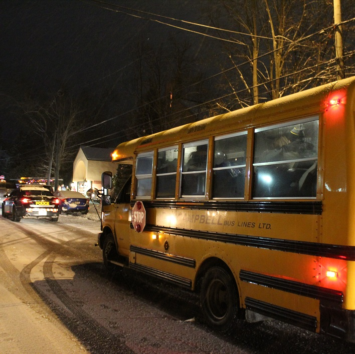 Even school buses and police cars were used to gather donations