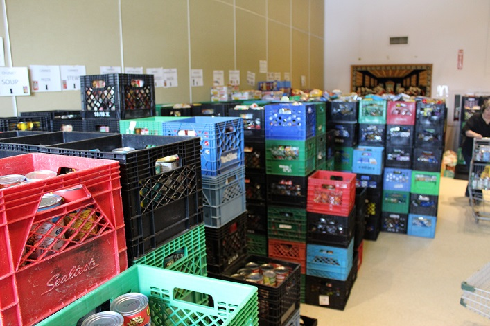 Crates filled with donations were stacked higher and higher