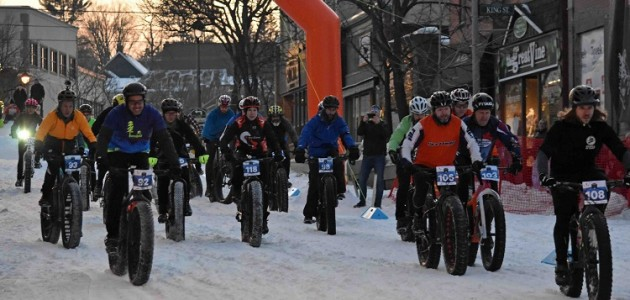 The start of the competitive wave at the inaugural Muskoka Fatbike Race on Feb. 22, 2020 (Cheyenne Wood)