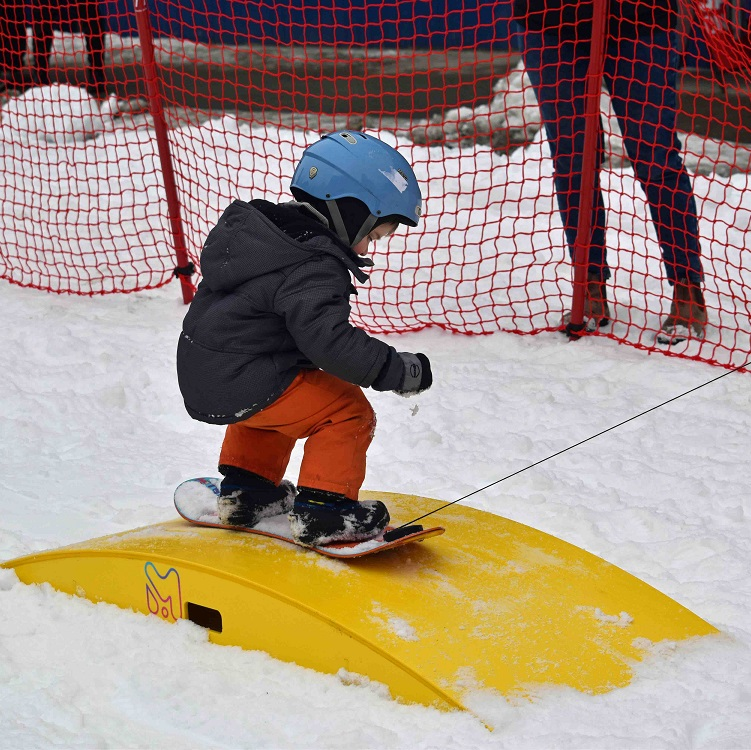 Hudson Laurence, 3, checks out the Burton Riglet Park courtesy of Hidden Valley Highlands Ski Area (Cheyenne Wood)