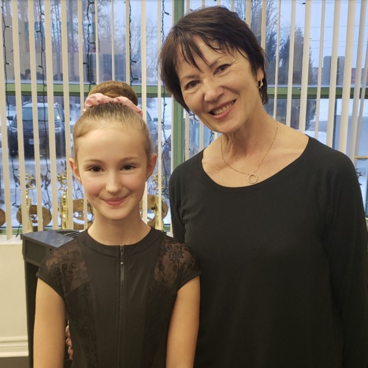 Ava Fuller with Vera Timashova, teacher and audition scout of the professional ballet program at the National Ballet School on Feb. 1, 2020 (Brittany Fuller)