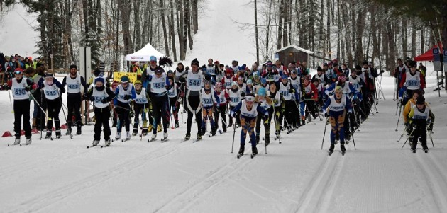 Ready, set...GO! Skiers in the 5km distance begin the 2020 Muskoka Loppet (Cheyenne Wood)