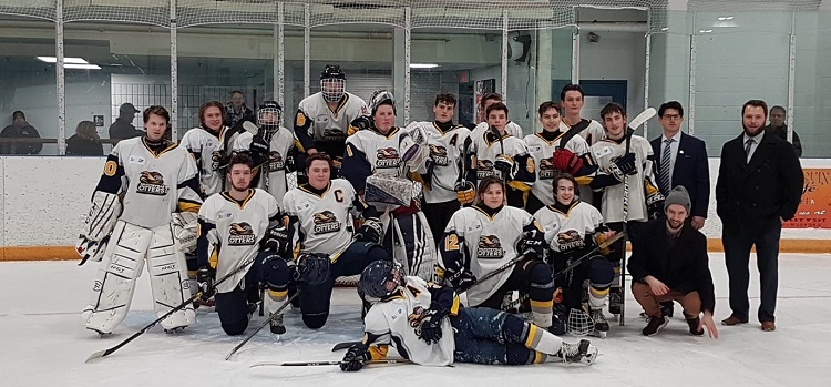 The Armstrong Dodge Midget AE Otters (back from left) Riley Holford 20, Tyler MacKinnon 13, Riley Digiacomo 9, Kalvin Crozier 18, Aaron Maddock 1, Andrew Duke 16, Ty Zanetti 4, Dryden Williams 5, Danny Downing, 6, Alex Ascott 15, Nathan Decaro 19, assistant coach Matt Young, head coach Brandon Janke; (front from left) Clayton Digiacomo 8, Matt Clarke 17, Alex Tone-Reid 12, Wyatt Schurer 11, trainer Ethan MacKay; and (lying in front) Jesse Taylor 3 (supplied)