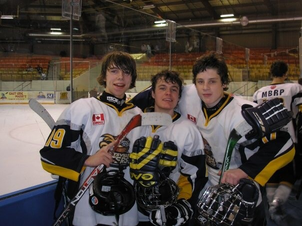 Brandon Janke (left) when he played minor Otters hockey (supplied)