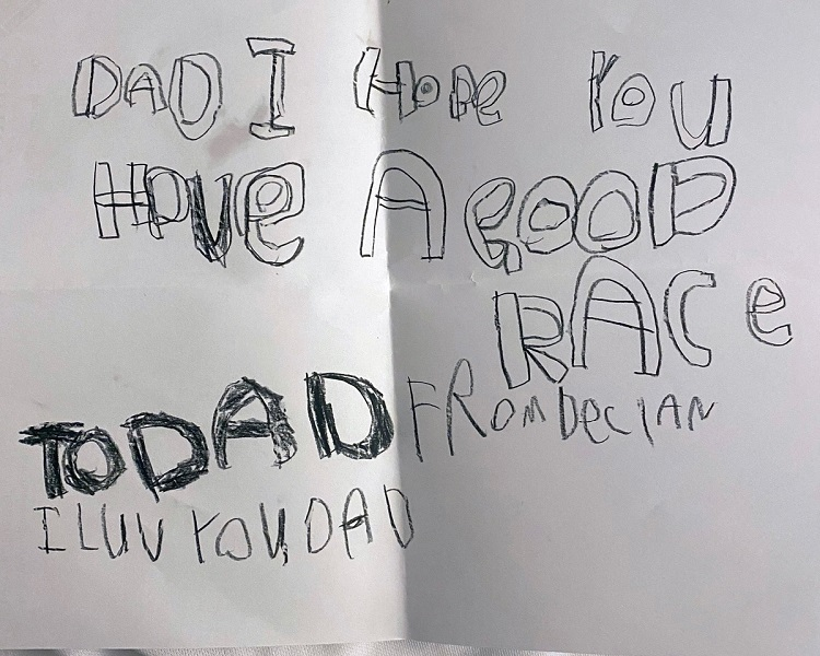 Words of encouragement to Chad Barber from his children on his Yukon Arctic Ultra attempt (supplied)
