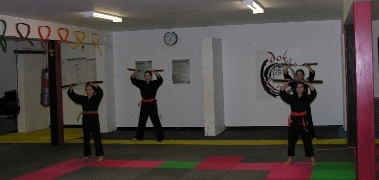 Ember McLeod, Maddi Villard, Daphne Briggs earned their green stripe. (Dokan Karate)