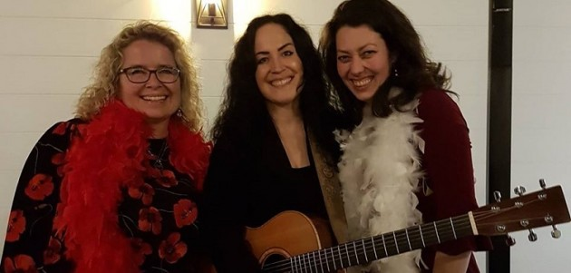Enliven directors Carrie Campbell (left) and Cat Brown (right) with local musician Christina Hutt (supplied)