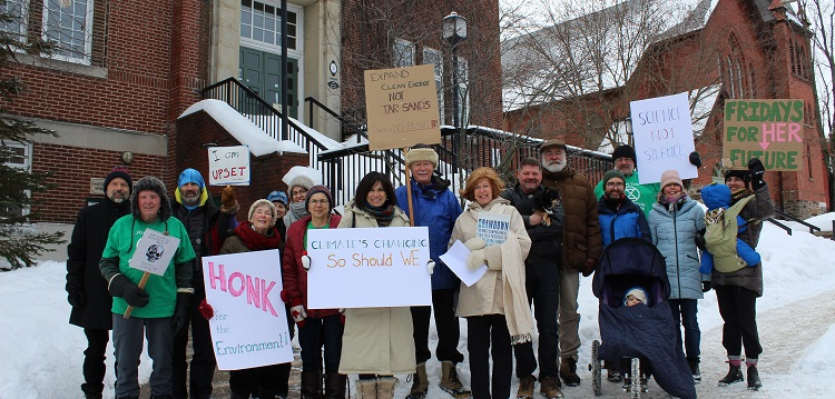 Huntsville's first weekly climate strike was held on Feb. 7, 2020 in front of Town Hall (Dawn Huddlestone)