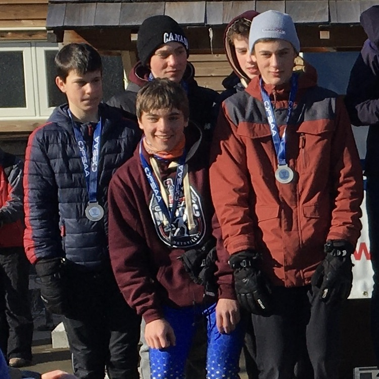 The HHS Junior Boys A team on the podium at the 2020 OFSAA Nordic ski championships with their silver medals (from left) Sam Richter, Corbin Wendell, Matthew Kuusk, Ben Shearing, and Aidan Spiers (Brenda Liddle)