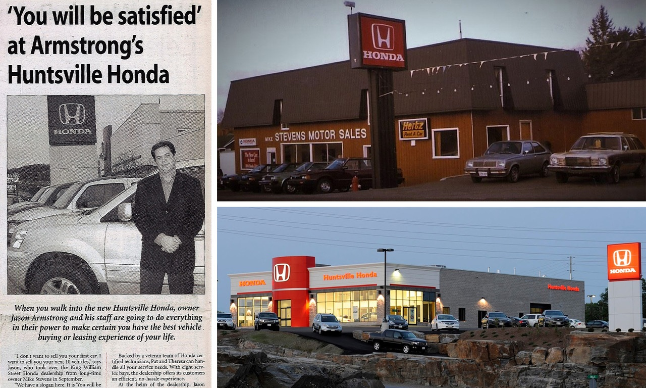 (Clockwise from left) Jason Armstrong featured in the newspaper when he took over the dealership in 2003; Huntsville Honda in the 1980s; Huntsville Honda today (supplied)