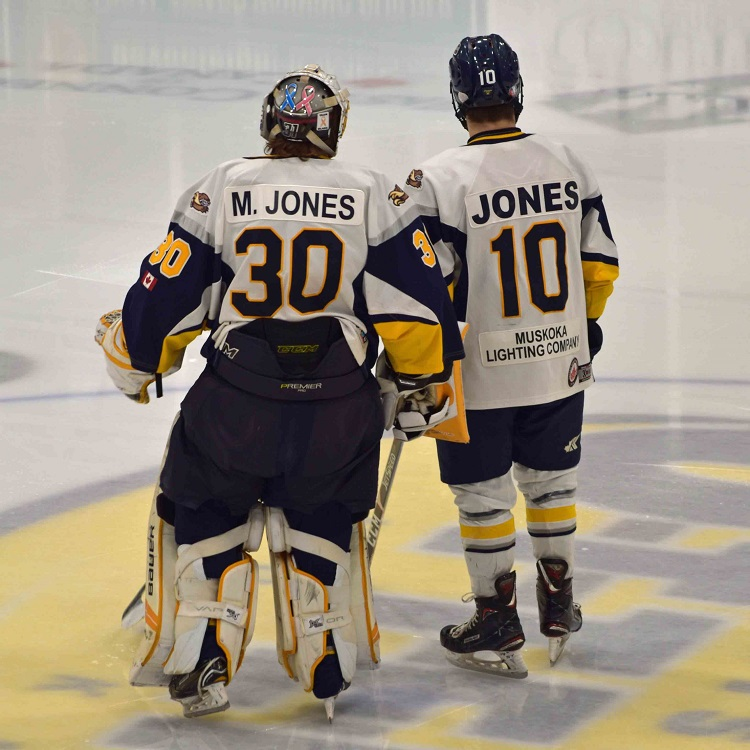 Mitchell (left) and Cody Jones were honoured at their final regular season game with the Jr C Otters (Cheyenne Wood)