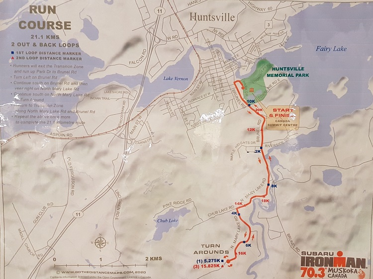 The proposed 2020 Ironman 70.3 Muskoka run route as posted at an open house on Feb. 20 (Dawn Huddlestone)