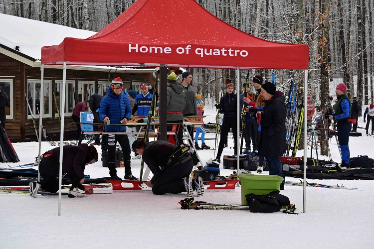 Racers ready their skis for the conditions (Cheyenne Wood)