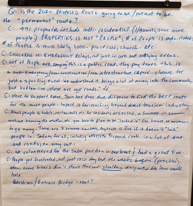 Some of the questions and comments noted at the open house about the proposed run route for the 2020 Ironman 70.3 Muskoka (Dawn Huddlestone)