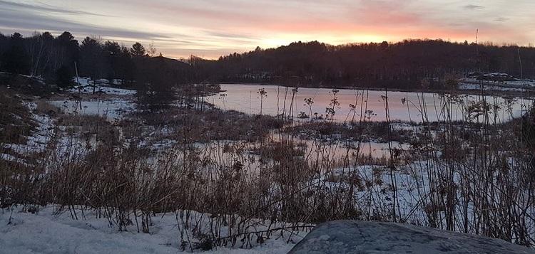 Huntsville's Cann Lake at sunrise, March 16, 2020 (Dawn Huddlestone)