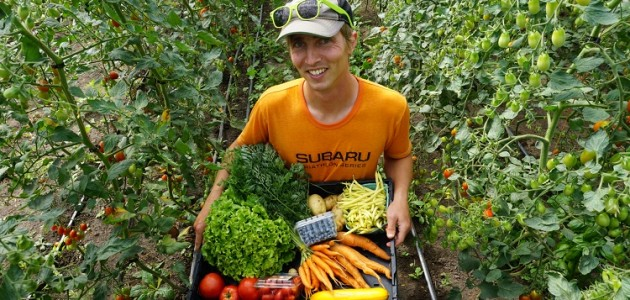 Eat Local Muskoka's Colin Sober-Williams with the type of produce found in one of its CSA boxes (supplied)