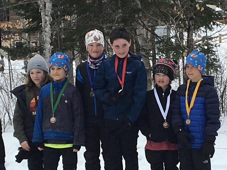 The top finishers in the grade 3-4 boys race were (from left) Dylan Corrigan, sixth; Jake Richter, fifth; Josh Gevaert, second; Ross Graham, first; Jake Varieur, third; and Beckett Greib, fourth (Brenda)